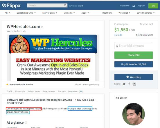 WPHercules.com Flippa Listing